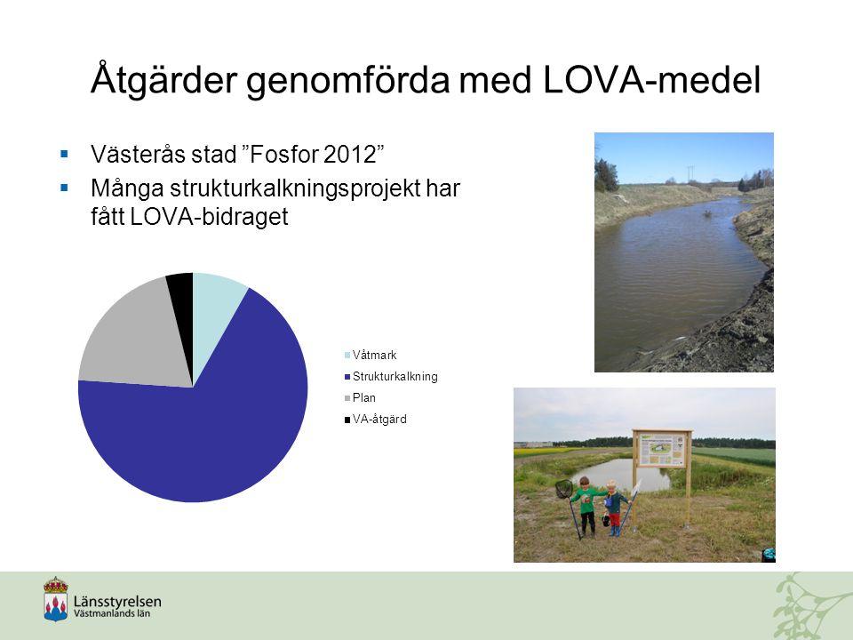 """Åtgärder genomförda med LOVA-medel  Västerås stad """"Fosfor 2012""""  Många strukturkalkningsprojekt har fått LOVA-bidraget"""