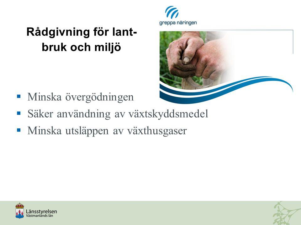 Rådgivning för lant- bruk och miljö  Minska övergödningen  Säker användning av växtskyddsmedel  Minska utsläppen av växthusgaser