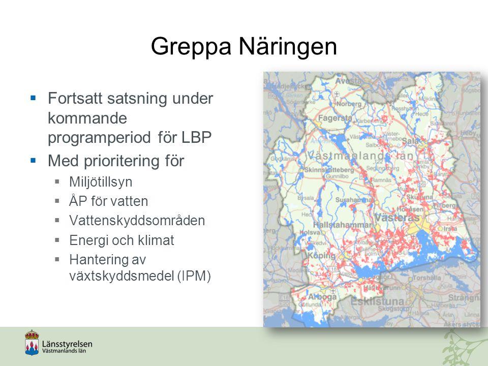Greppa Näringen  Fortsatt satsning under kommande programperiod för LBP  Med prioritering för  Miljötillsyn  ÅP för vatten  Vattenskyddsområden 