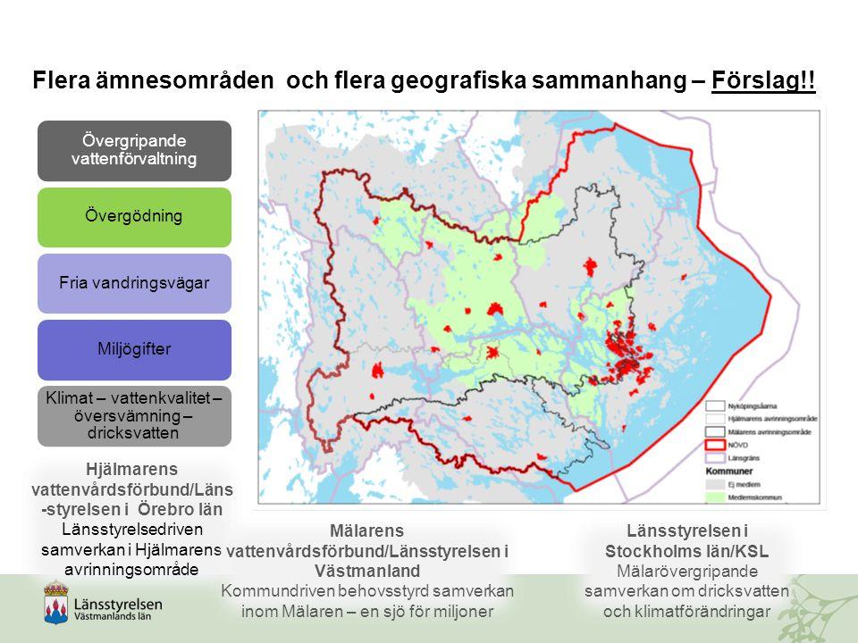 Övergripande vattenförvaltning ÖvergödningFria vandringsvägarMiljögifter Klimat – vattenkvalitet – översvämning – dricksvatten Hjälmarens vattenvårdsf