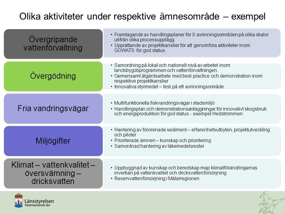 Framtagande av handlingsplaner för X avrinningsområden på olika skalor utifrån olika processupplägg Upprättande av projektkanslier för att genomföra a