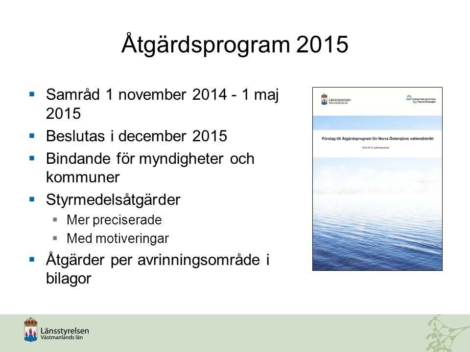Åtgärdsprogram 2015  Samråd 1 november 2014 - 1 maj 2015  Beslutas i december 2015  Bindande för myndigheter och kommuner  Styrmedelsåtgärder  Me