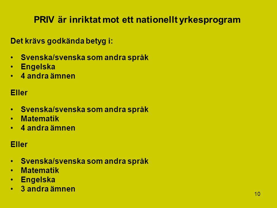 10 PRIV är inriktat mot ett nationellt yrkesprogram Det krävs godkända betyg i: Svenska/svenska som andra språk Engelska 4 andra ämnen Eller Svenska/s