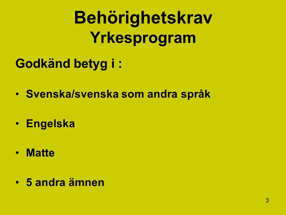4 Yrkesexamen Betyg i kurser som omfattar 2500 p Lägst betyg E på kurser som omfattar minst 2.250 p Betyg E på gymnasiearbetet Lägst betyg E på kurser inom programgemensamma karaktärsämne som omfattar minst 400 p Lägst betyg E i:  Svenska/svenska som andra språk 1  Engelska 5  Matematik 1