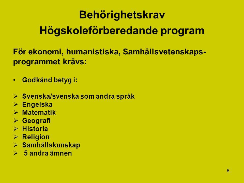 6 Behörighetskrav Högskoleförberedande program För ekonomi, humanistiska, Samhällsvetenskaps- programmet krävs: Godkänd betyg i:  Svenska/svenska som