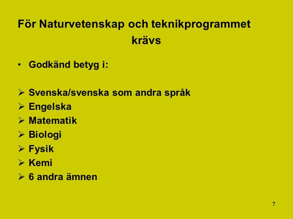 7 För Naturvetenskap och teknikprogrammet krävs Godkänd betyg i:  Svenska/svenska som andra språk  Engelska  Matematik  Biologi  Fysik  Kemi  6