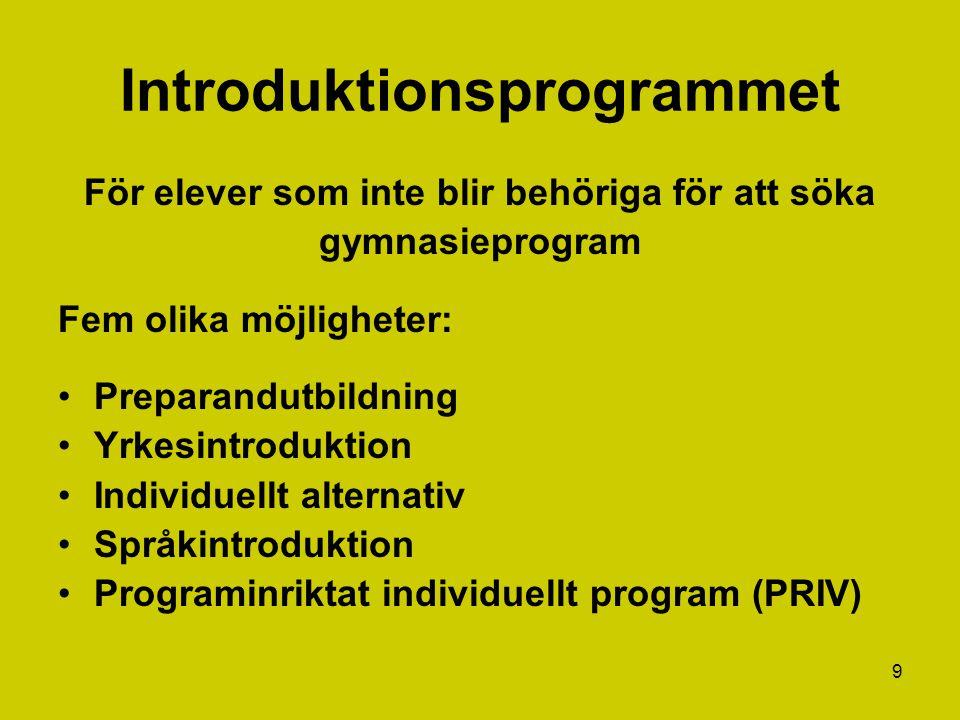 9 Introduktionsprogrammet För elever som inte blir behöriga för att söka gymnasieprogram Fem olika möjligheter: Preparandutbildning Yrkesintroduktion