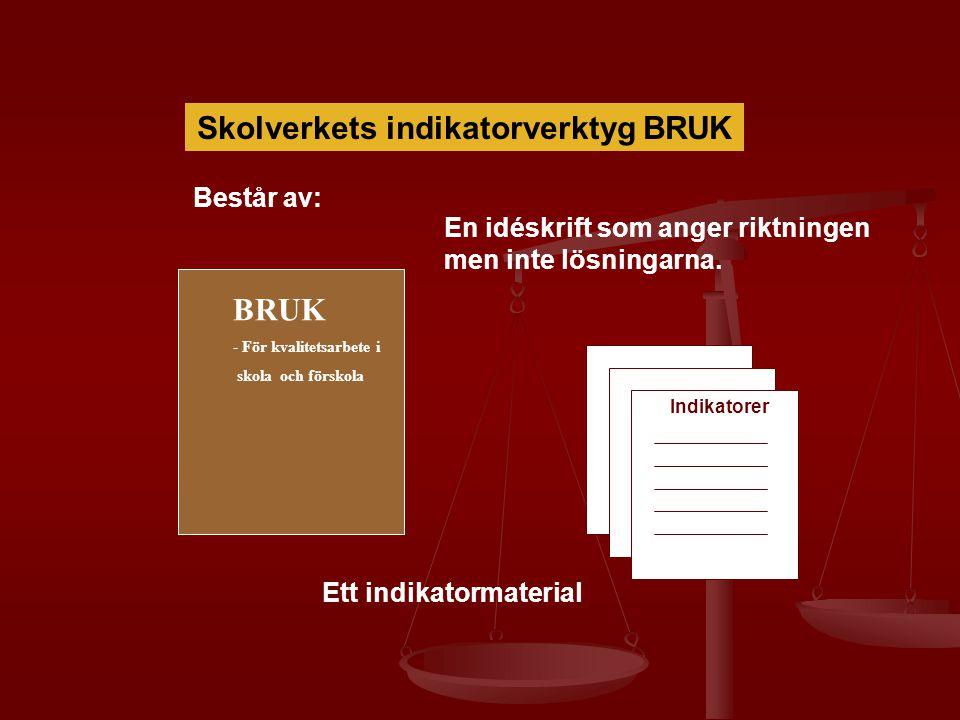 Skolverkets indikatorverktyg BRUK Består av: BRUK - För kvalitetsarbete i skola och förskola En idéskrift som anger riktningen men inte lösningarna. I