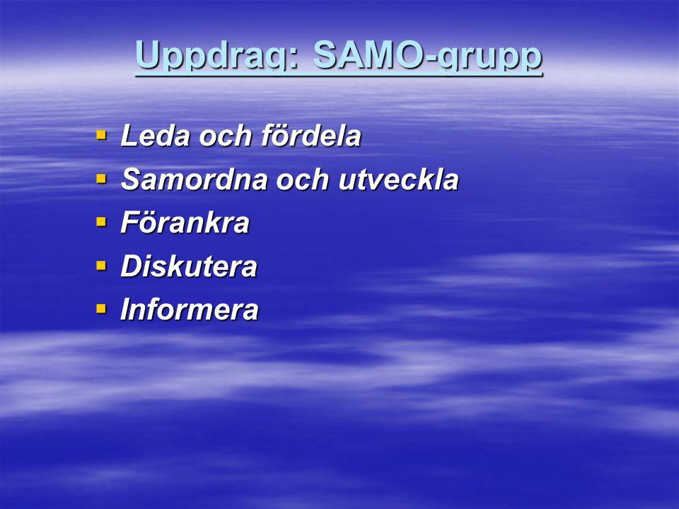 Uppdrag: SAMO-grupp  Leda och fördela  Samordna och utveckla  Förankra  Diskutera  Informera