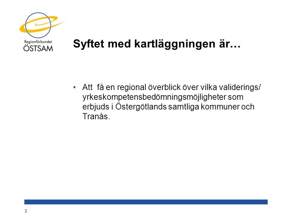 Syftet med kartläggningen är… Att få en regional överblick över vilka validerings/ yrkeskompetensbedömningsmöjligheter som erbjuds i Östergötlands sam