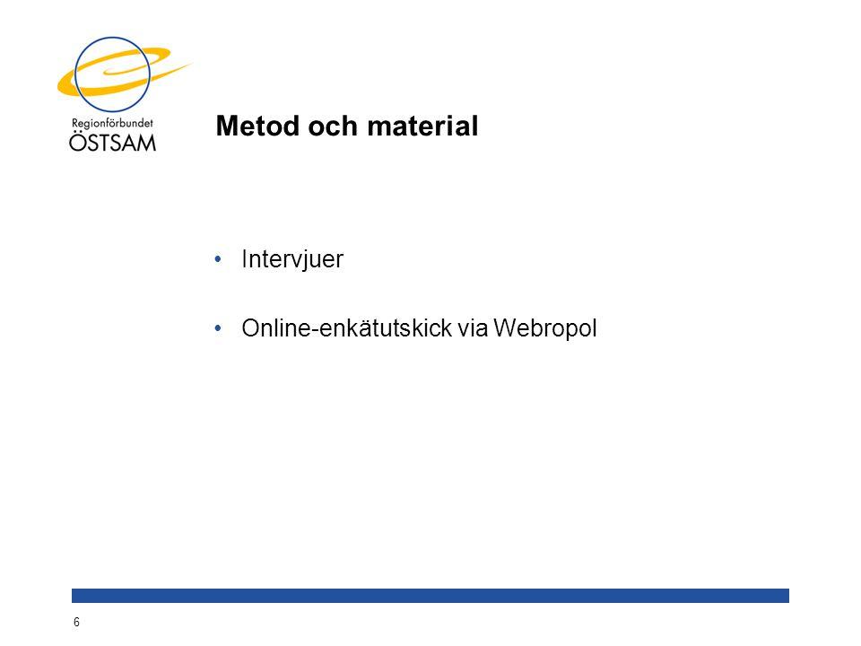 Metod och material Intervjuer Online-enkätutskick via Webropol 6