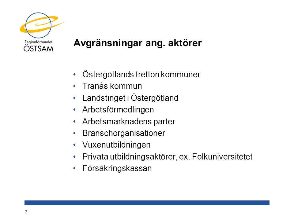 Avgränsningar ang. aktörer Östergötlands tretton kommuner Tranås kommun Landstinget i Östergötland Arbetsförmedlingen Arbetsmarknadens parter Branscho