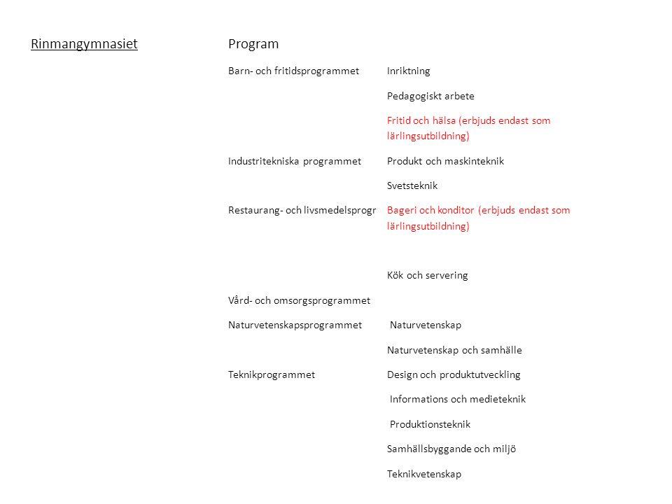RinmangymnasietProgram Barn- och fritidsprogrammetInriktning Pedagogiskt arbete Fritid och hälsa (erbjuds endast som lärlingsutbildning) Industritekniska programmetProdukt och maskinteknik Svetsteknik Restaurang- och livsmedelsprogrBageri och konditor (erbjuds endast som lärlingsutbildning) Kök och servering Vård- och omsorgsprogrammet Naturvetenskapsprogrammet Naturvetenskap Naturvetenskap och samhälle TeknikprogrammetDesign och produktutveckling Informations och medieteknik Produktionsteknik Samhällsbyggande och miljö Teknikvetenskap