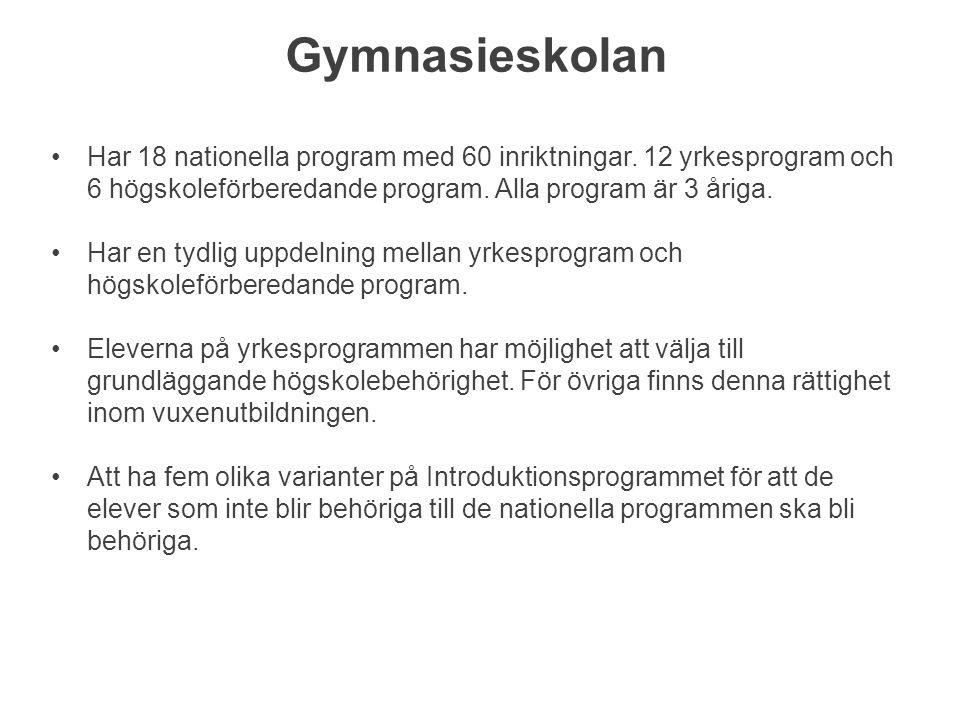 Gymnasieskolan Har 18 nationella program med 60 inriktningar.