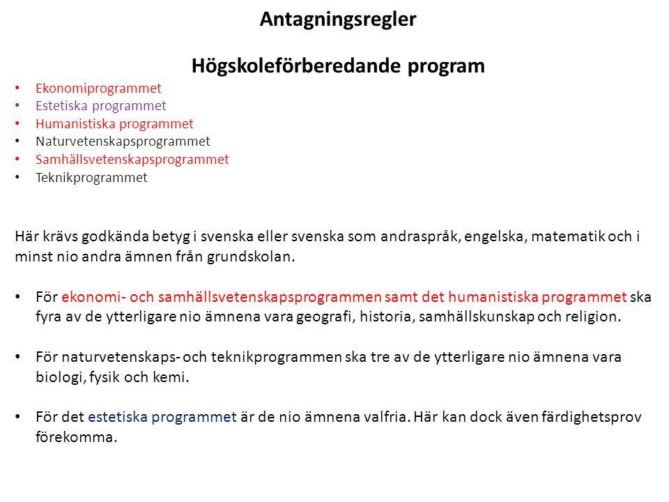 Antagningsregler Högskoleförberedande program Ekonomiprogrammet Estetiska programmet Humanistiska programmet Naturvetenskapsprogrammet Samhällsvetenskapsprogrammet Teknikprogrammet Här krävs godkända betyg i svenska eller svenska som andraspråk, engelska, matematik och i minst nio andra ämnen från grundskolan.