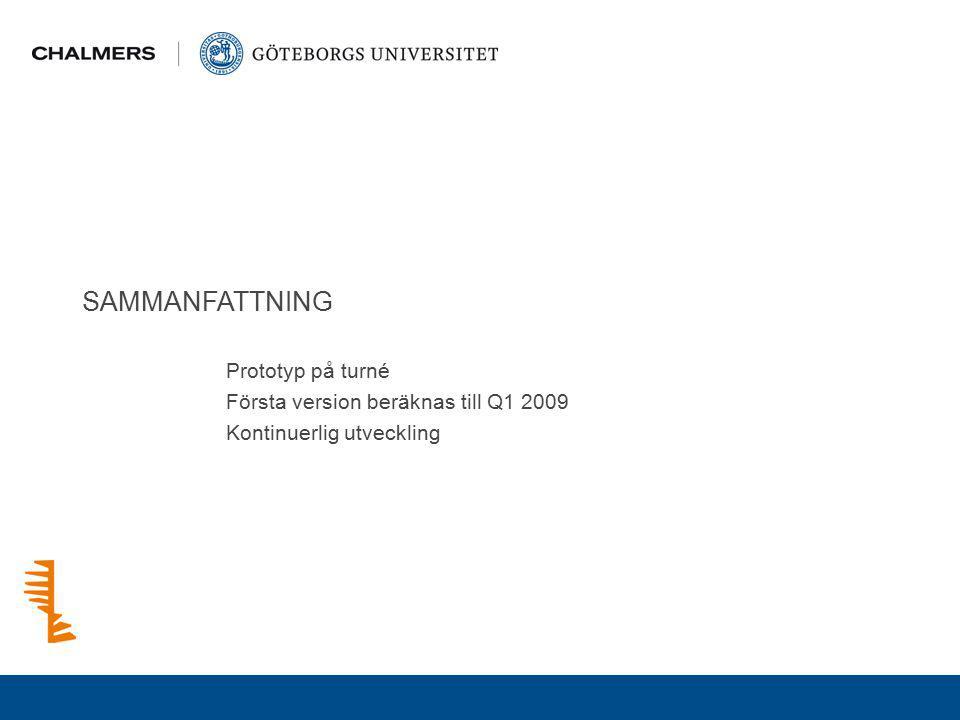 SAMMANFATTNING Prototyp på turné Första version beräknas till Q1 2009 Kontinuerlig utveckling