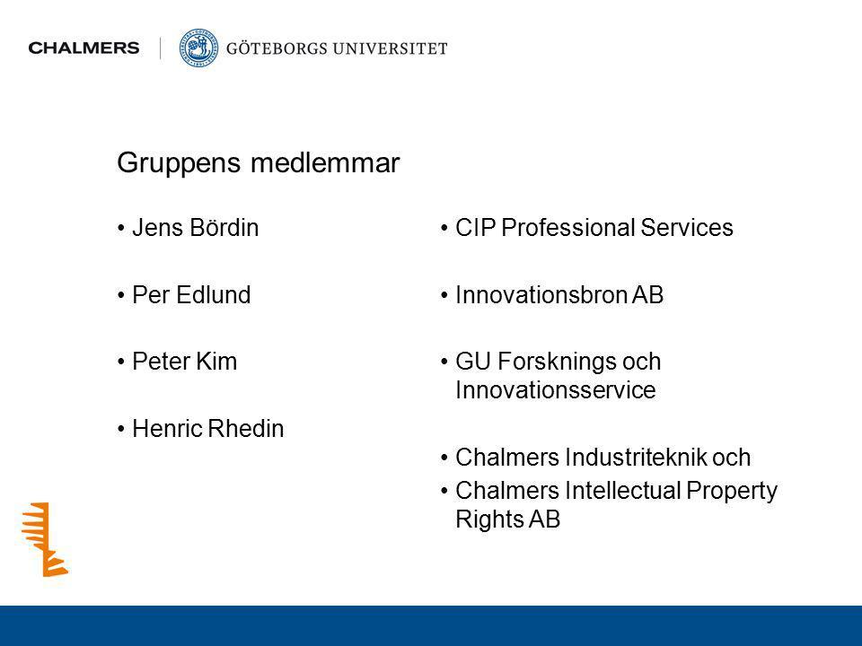 Gruppens medlemmar Jens Bördin Per Edlund Peter Kim Henric Rhedin CIP Professional Services Innovationsbron AB GU Forsknings och Innovationsservice Ch