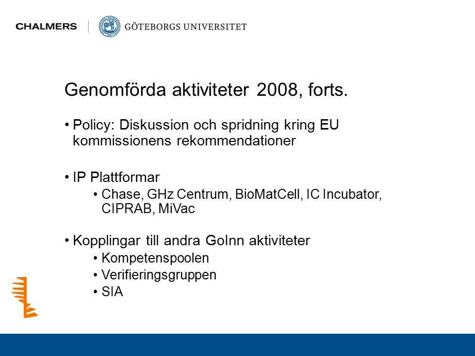 Genomförda aktiviteter 2008, forts. Policy: Diskussion och spridning kring EU kommissionens rekommendationer IP Plattformar Chase, GHz Centrum, BioMat