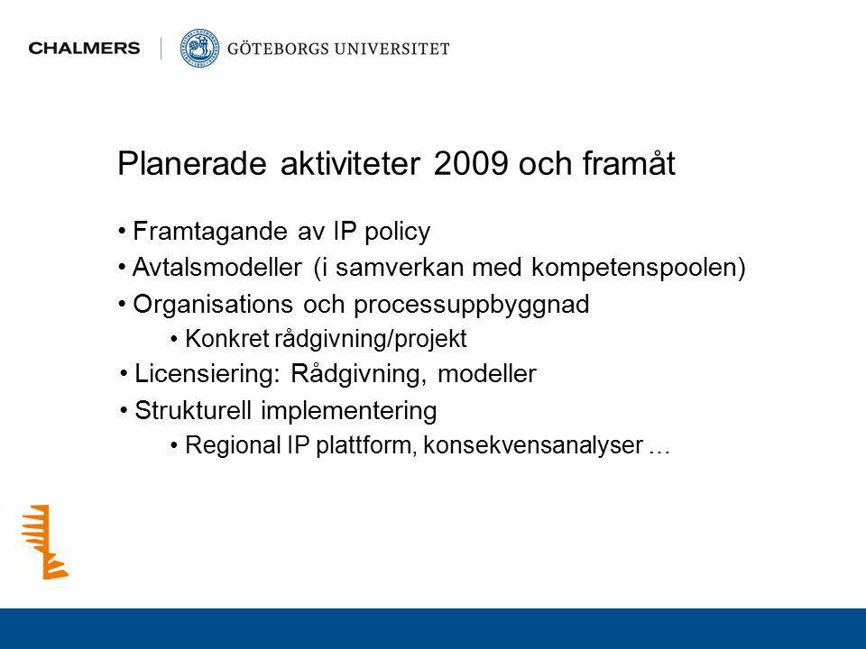 Planerade aktiviteter 2009 och framåt Framtagande av IP policy Avtalsmodeller (i samverkan med kompetenspoolen) Organisations och processuppbyggnad Ko