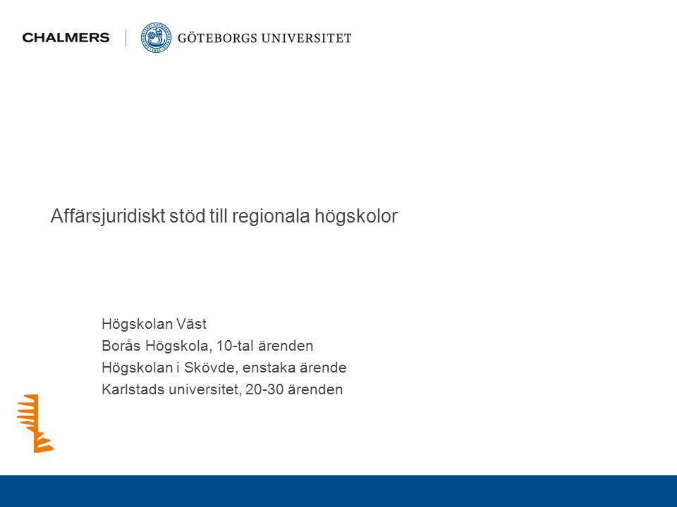 Affärsjuridiskt stöd till regionala högskolor Högskolan Väst Borås Högskola, 10-tal ärenden Högskolan i Skövde, enstaka ärende Karlstads universitet,
