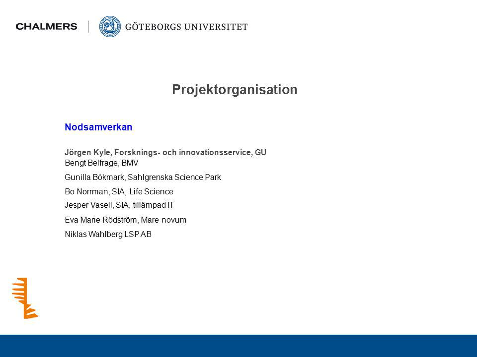 Projektorganisation Nodsamverkan Jörgen Kyle, Forsknings- och innovationsservice, GU Bengt Belfrage, BMV Bo Norrman, SIA, Life Science Gunilla Bökmark