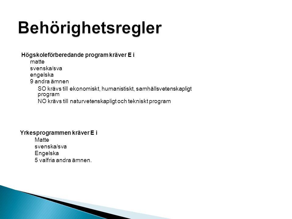 Högskoleförberedande program kräver E i matte svenska/sva engelska 9 andra ämnen SO krävs till ekonomiskt, humanistiskt, samhällsvetenskapligt program NO krävs till naturvetenskapligt och tekniskt program Yrkesprogrammen kräver E i Matte svenska/sva Engelska 5 valfria andra ämnen.