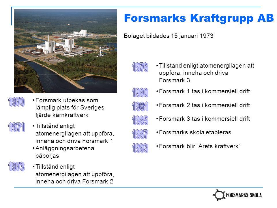 Forsmarks Kraftgrupp AB Bolaget bildades 15 januari 1973 Forsmark utpekas som lämplig plats för Sveriges fjärde kärnkraftverk Tillstånd enligt atomene