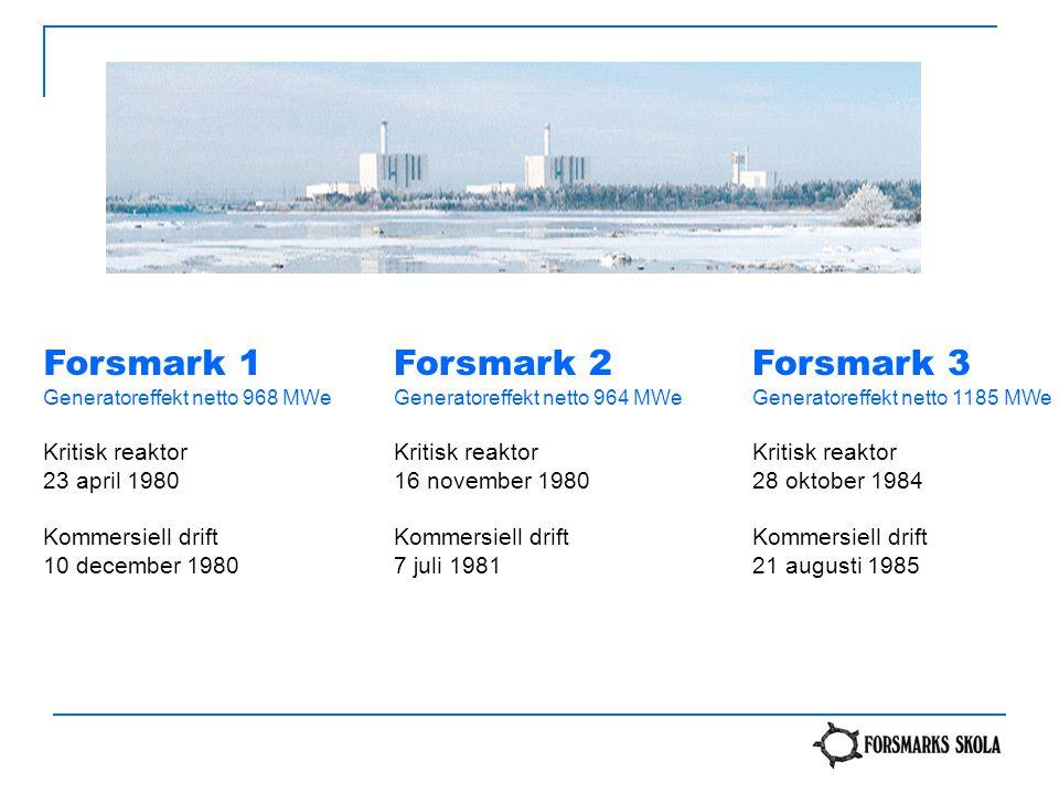 Forsmark 1 Generatoreffekt netto 968 MWe Kritisk reaktor 23 april 1980 Kommersiell drift 10 december 1980 Forsmark 2 Generatoreffekt netto 964 MWe Kri