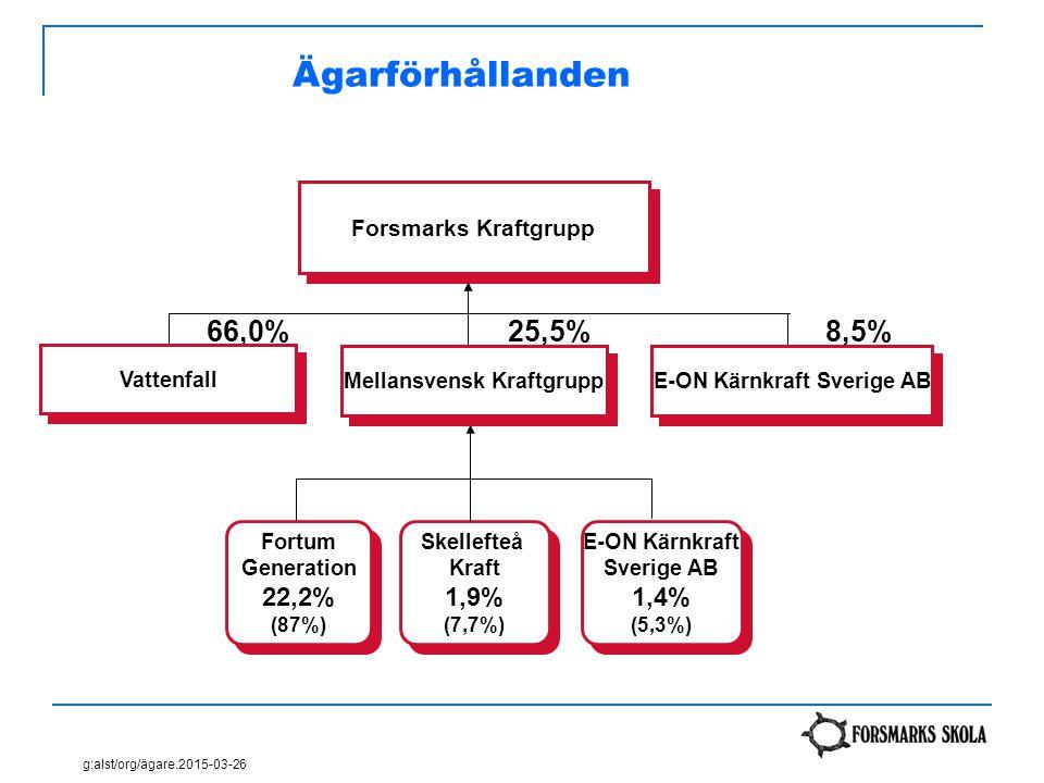 Ägarförhållanden Forsmarks Kraftgrupp Skellefteå Kraft 1,9% (7,7%) Skellefteå Kraft 1,9% (7,7%) E-ON Kärnkraft Sverige AB 1,4% (5,3%) E-ON Kärnkraft S