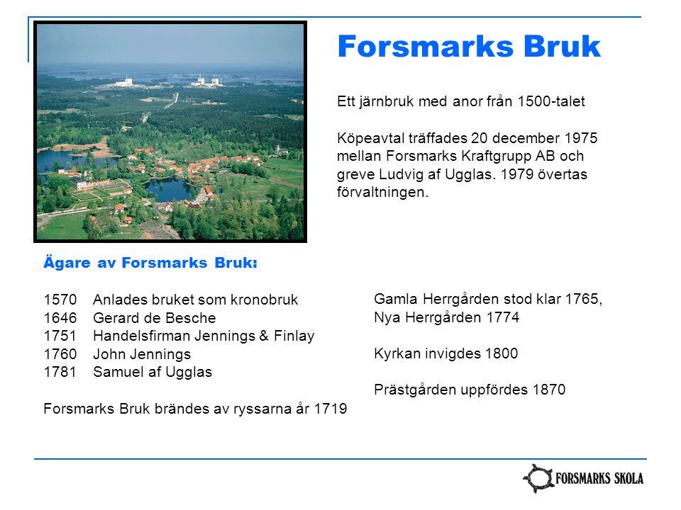 Forsmarks Bruk Ett järnbruk med anor från 1500-talet Köpeavtal träffades 20 december 1975 mellan Forsmarks Kraftgrupp AB och greve Ludvig af Ugglas. 1
