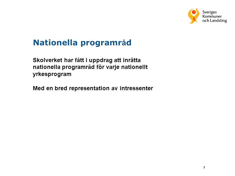 8 Nationella programr å d Uppgifter - utveckla innehållet i utbildningen - examensmål och uppgifter för gymnasiearbetet - elevernas etablering på arbetsmarknaden - underlag till informationsmaterial för elever - matcha utbildningsutbudet med efterfrågan på arbetsmarknaden - följa utvecklingen inom respektive yrkesområde - skapa förutsättningar för utbildning inom nya yrken