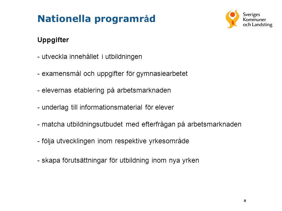9 Nationella programr å d Högskoleförberedande program inga nationella programråd Samverkan med högskolor och universitet kan ändå genomföras Behovet av kontinuerliga förändringar bedöms vara mindre för de högskoleförberedande programmen