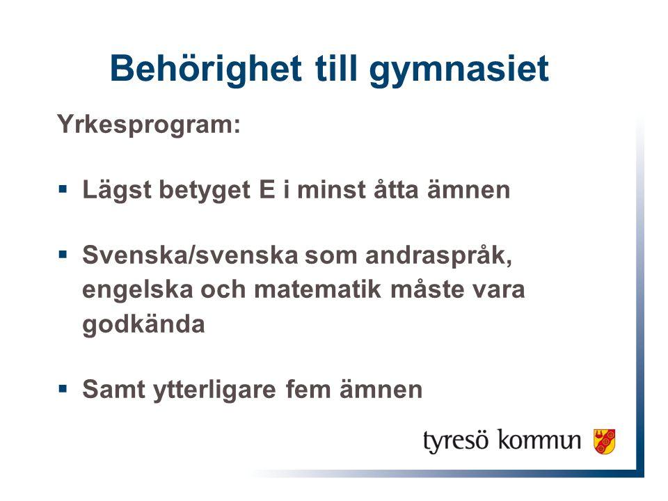 Behörighet till gymnasiet Yrkesprogram:  Lägst betyget E i minst åtta ämnen  Svenska/svenska som andraspråk, engelska och matematik måste vara godkä