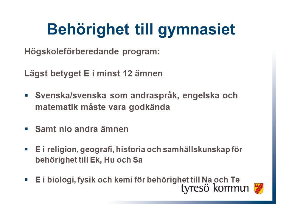Behörighet till gymnasiet Högskoleförberedande program: Lägst betyget E i minst 12 ämnen  Svenska/svenska som andraspråk, engelska och matematik måst
