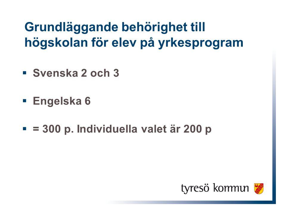 Grundläggande behörighet till högskolan för elev på yrkesprogram  Svenska 2 och 3  Engelska 6  = 300 p. Individuella valet är 200 p