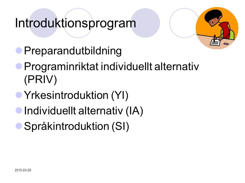 2015-03-26 Introduktionsprogram Preparandutbildning Programinriktat individuellt alternativ (PRIV) Yrkesintroduktion (YI) Individuellt alternativ (IA) Språkintroduktion (SI)