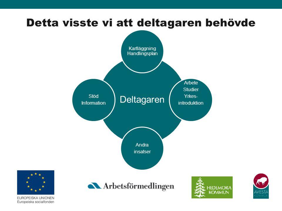 Detta visste vi att deltagaren behövde Deltagaren Kartläggning Handlingsplan Arbete Studier Yrkes- introduktion Andra insatser Stöd Information