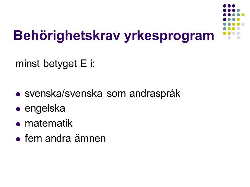 Behörighetskrav yrkesprogram minst betyget E i: svenska/svenska som andraspråk engelska matematik fem andra ämnen