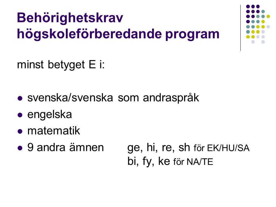 Behörighetskrav högskoleförberedande program minst betyget E i: svenska/svenska som andraspråk engelska matematik 9 andra ämnenge, hi, re, sh för EK/HU/SA bi, fy, ke för NA/TE