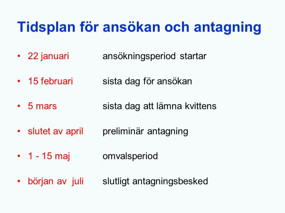 Tidsplan för ansökan och antagning 22 januari ansökningsperiod startar 15 februarisista dag för ansökan 5 marssista dag att lämna kvittens slutet av a