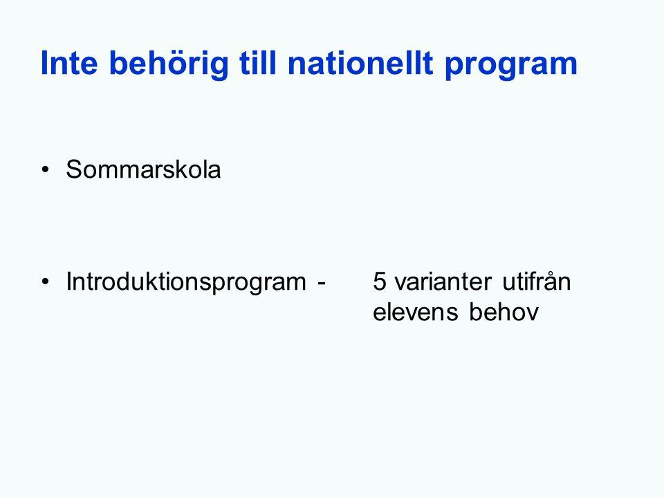 Inte behörig till nationellt program Sommarskola Introduktionsprogram -5 varianter utifrån elevens behov