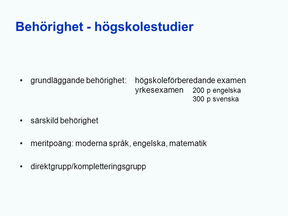 Behörighet - högskolestudier grundläggande behörighet:högskoleförberedande examen yrkesexamen 200 p engelska 300 p svenska särskild behörighet meritpo