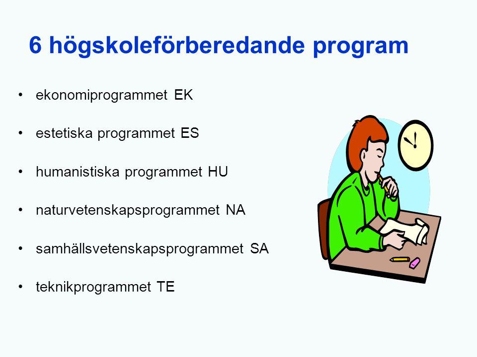 6 högskoleförberedande program ekonomiprogrammet EK estetiska programmet ES humanistiska programmet HU naturvetenskapsprogrammet NA samhällsvetenskaps