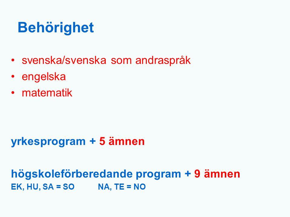 Behörighet svenska/svenska som andraspråk engelska matematik yrkesprogram + 5 ämnen högskoleförberedande program + 9 ämnen EK, HU, SA = SONA, TE = NO