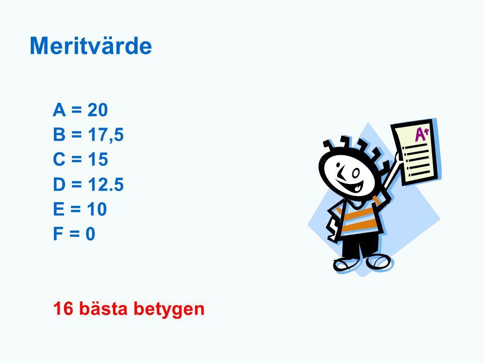 Meritvärde A = 20 B = 17,5 C = 15 D = 12.5 E = 10 F = 0 16 bästa betygen