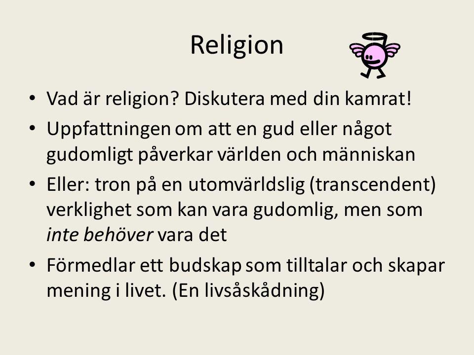 Religion Vad är religion? Diskutera med din kamrat! Uppfattningen om att en gud eller något gudomligt påverkar världen och människan Eller: tron på en