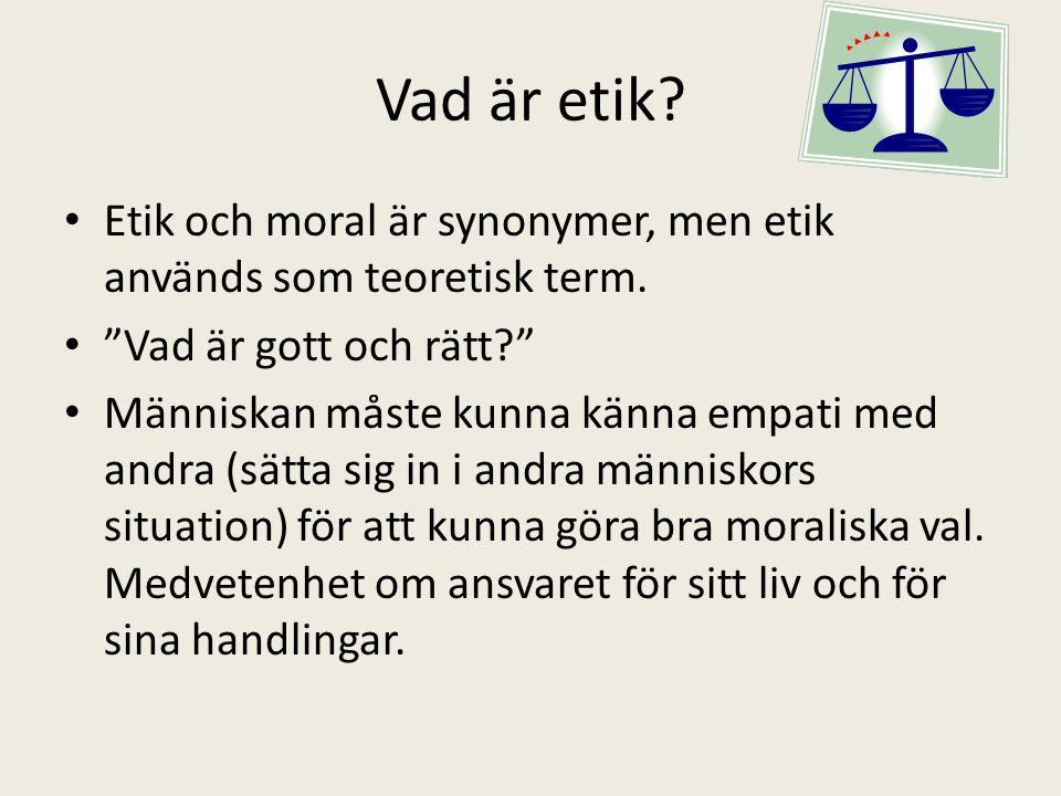 Etik och moral är synonymer, men etik används som teoretisk term.