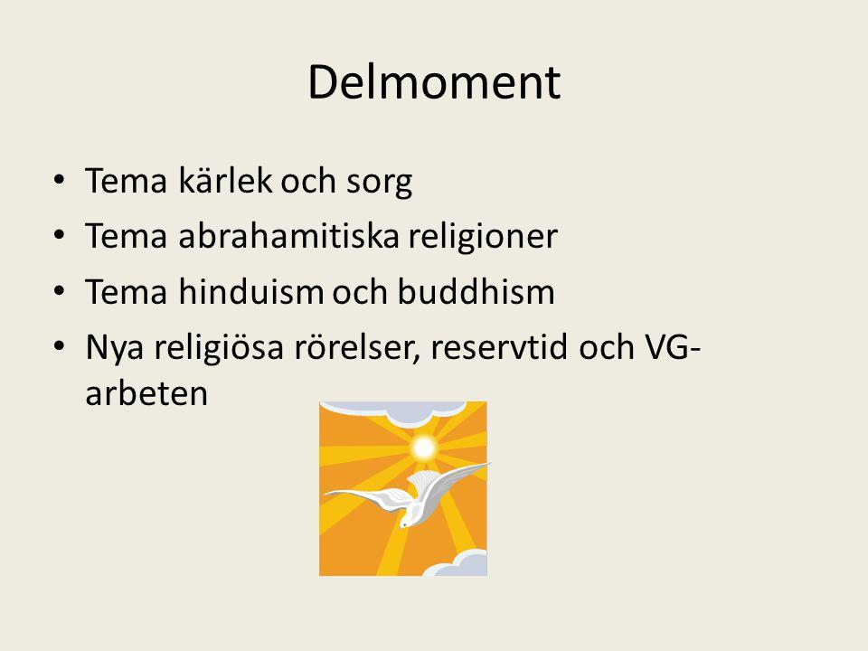 Delmoment Tema kärlek och sorg Tema abrahamitiska religioner Tema hinduism och buddhism Nya religiösa rörelser, reservtid och VG- arbeten