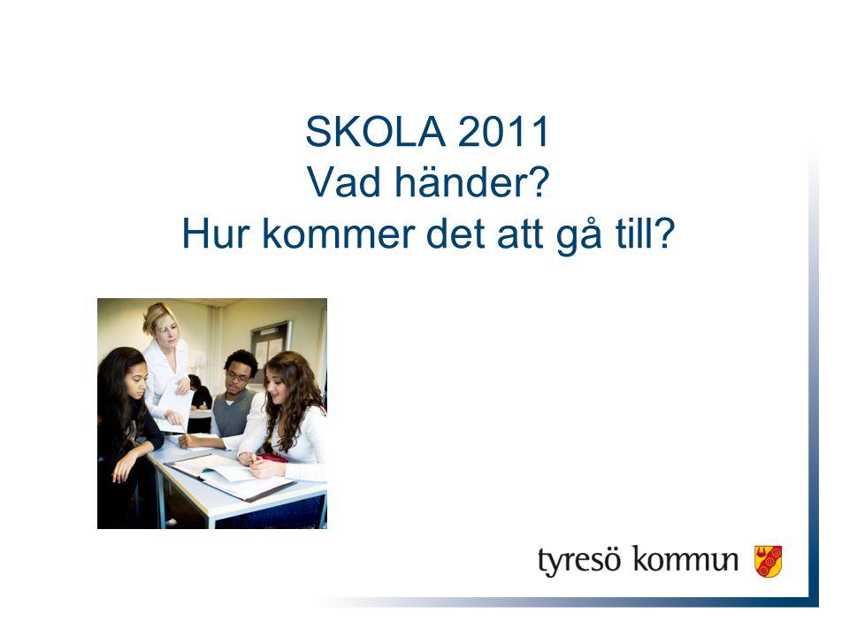 Skola 2011 Ny skollag Ny läroplan Nya kursplaner – för tydligare mål och kunskapskrav Nytt betygssystem Ny lärarutbildning