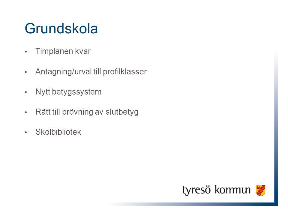 Grundskola Timplanen kvar Antagning/urval till profilklasser Nytt betygssystem Rätt till prövning av slutbetyg Skolbibliotek